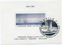 """VIGNETTE EN BLOC-FEUILLET 1984-1986 EXPEDITION """"BASILE AU POLE SUD AVEC CACHET ILLUSTRE """"BASILE II EXPEDITION BASILE..."""" - Events & Commemorations"""