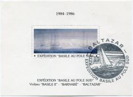 """VIGNETTE EN BLOC-FEUILLET 1984-1986 EXPEDITION """"BASILE AU POLE SUD AVEC CACHET ILLUSTRE """"BALTAZAR"""" EXPEDITION BASILE..."""" - Events & Commemorations"""