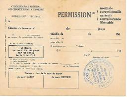 Ww2 - 194. - CHANTIERS DE LA JEUNESSE - Bulletin De PERMISSION - Voir Le Cachet Province ALPES-JURA - Documents Historiques