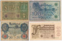 Lot Mit 4 Banknoten 20,50,100 Und 500 Mark 1910,1919,1908, 1923 (1) - 500 Mark