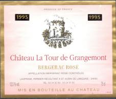 019 - Bergerac Rosé - 1993 - Château La Tour De Grangemont - Lavergne Fermier Récoltant à St Aubin De Lanquais 24560 - Bergerac