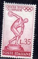 ITALIA REPUBBLICA ITALY REPUBLIC 1960 XXVII 17 GIOCHI OLIMPICI OLIMPIADE OLYMPIC GAMES ROMA ROME LIRE  35 MNH - 6. 1946-.. Repubblica