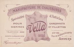 BELGIQUE - PUB - ANVERS - Manufacture De Chaussures S.A. Vella (Marque Déposée) - Cartes De Visite