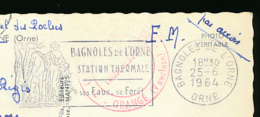 """* Flamme Bagnoles-de-l'Orne, """"Station Thermale, Ses Eau, Ses Forêts"""" Sur Carte (circulée, 1964) 2 Scans - Sellados Mecánicos (Publicitario)"""