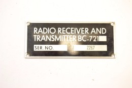 Plaque Matériel Radio RECEIVER AND TRANSMITTER BC-721 BC721, Matériel Radio US France - Radio's