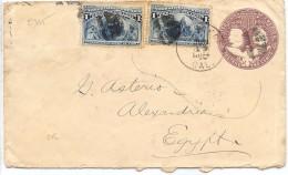 LCIRC6 - ETATS UNIS EP ENVELOPPE VOYAGEE A DESTINATION D'ALEXANDRIE D'ÉGYPTE JUIN 1894 - Postal Stationery
