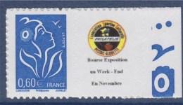 = Timbre Marianne De Lamouche Type Autocollant  0.60€ Bleu De Feuillet YT 3966Aa Petit Logo Dentelé 4 Cotés Spink N°59 - Sellos Personalizados