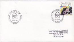Denmark Sonderstempel FREDERICIA 1991 Cover Brief Fredericia Museumsforening 75 år Europa CEPT Stamp - Dänemark