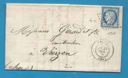 Loire - FEURS Pour VIERZON (Cher) - GC + CàD Type 17 - Marcophilie (Lettres)