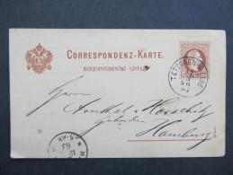 GANZSACHE Korrespondenzkarte TETSCHEN A.d.Elbe - Hamburg Lüder + Tischer 1882  // D*20506 - 1850-1918 Imperium