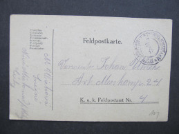 GANZSACHE Korrespondenzkarte Feldpost Bystrey B. Neustadt A.d.M. Bystre U Noveho Mesta 1918 // D*20522 - Briefe U. Dokumente