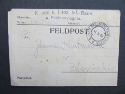 GANZSACHE Korrespondenzkarte Feldpost K.u.k.Feldpostamt Nr.106 1916 - Zasmuky 1916 // D*20524 - Briefe U. Dokumente