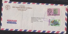 O) 1980 NICARAGUA, RARE AND FAMOUS STAMP HAWAII 2 CENTS- MISSIONARY, SEEDS GUAYACAN FLOWERS BUTTERFLY, COVER TO  USA, XF - Nicaragua