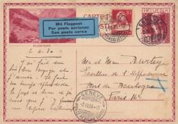 85300 L - Entier Postal Carte Postale  20 C Rouge Illustrée + 1 TP, Tarif  40 C, Cad GENEVE  IV 1930 Par Avion Pour La - Altri Documenti