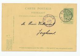 690/23 - Entier Postal Armoiries BRUGES 1909 - Origine Manuscrite ASSEBROUCK ( Assebroek) Signé Vandenbroele - Stamped Stationery