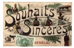 SÉNÉGAL - Carte Fantaisie - SOUHAITS SINCÈRES DU SÉNÉGAL - Ed. Fortier - Senegal