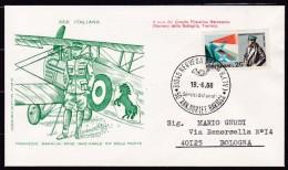 1968 Italia Nervesa (TV) FRANCESCO BARACCA 50° MORTE FDC Filagrano N.355 Viaggiata NERVESA BOLOGNA Affr. 25L Baracca - Prima Guerra Mondiale