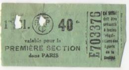 Ticket/Billet De Tram. Tramways Parisiens. T.C.R.P. 1er Classe. Publicité Nicolas Au Dos. - Billets D'embarquement D'avion