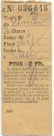 Ticket/Billet De Train. 2ème Classe. Parcours De Pau. - Billets D'embarquement D'avion