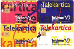 SLOVENIJA SLOVENIA 4 X PHONECARD 1996 PUZZLERED, BLUE, WHITE, ORANGE  TELEKOM CAT.NO. 016,017,018,019 - Puzzles