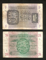 United Kingdom - BRITISH MILITARY AUTHORITY - 1 SHILLING & 2 SHILLINGS & 6 PENCE (1943) - WWII / LOT Of 2 BANKNOTES - Autorità Militare Britannica