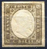 Antichi Stati Regno Di SARDEGNA 1855 1863 Effige Di VE II C. 10 MLH * Indaco Scuro - Sardaigne