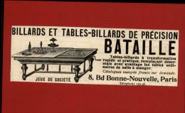 BILLARD - Publicité Issue D´une Revue Collée Sur Carton - Vieux Papiers