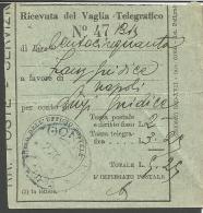 VIT.E.III.198--- STORIA POSTALE,  RICEVUTA VAGLIA POSTALE, GONDAR--ETIOPIA,,  1941, - Tax On Money Orders