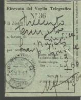 VIT.E.III.199--- STORIA POSTALE,  RICEVUTA VAGLIA POSTALE, GONDAR--ETIOPIA,,  1941, - Tax On Money Orders