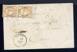 Rare Lettre De Bavent Pour Caen 1871 Avec Une Paire De N° 36 - Postmark Collection (Covers)