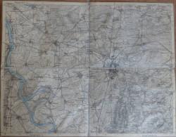 Darmstadt - Topographische Karte Mit Leinenverstärkten Falzen 30cm X 38cm - Topographische Karten