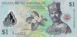 Brunei P35, 1 Dollar, Sultan Hassan Al-Bolkiah, Flower / Mosque POLYMER UNC - Brunei