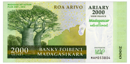 MADAGASCAR 2000 ARIARY 2012 COMMEMORATIVE Pick 93 Unc - Madagascar
