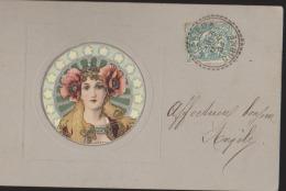 CPA:Art Nouveau Genre Mucha:Tête De Femme:Relief: - Antes 1900