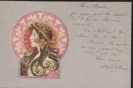 CPA:Art Nouveau Genre Mucha:Portrait De Femme:Relief - Avant 1900