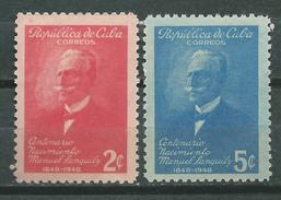 CUBA  Scott# 435/436 ** MNH Manuel Sanguily Centenary Author Editor - Cuba