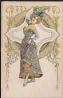 CPA:Art Nouveau Genre Mucha:Femme Sur Fond Coeurs - Avant 1900
