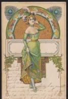 CPA:Art Nouveau Genre Mucha:Femme Fond Végétal - Avant 1900