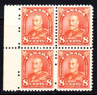 Canada MNH Scott #172 8c George V Arch Issue Margin Block Of 4 - Neufs