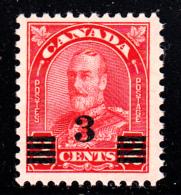 Canada MH Scott #191 3c George V Arch Provisional Issue - 1911-1935 Règne De George V