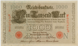1000 Mark - Allemagne - 21 Avril 1910 - N° 0107434H - Sup - - [ 2] 1871-1918 : German Empire