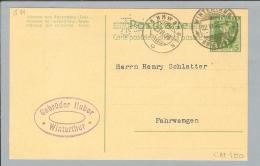 Schweiz Ganzsache Tellknabe1908 Mit Perfin G021 Gebr.Huber Winterthur - Entiers Postaux