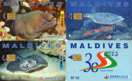 TELECARTES  MALDIVES *Rf 30 *Rf 50 *Rf 50 *Rf 100 Tortue Poisson Turtle Fish  (lot De 4) - Maldives