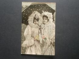 Illustration Deux Jeunes Filles Sous Un Parapluie - émaillographie  Circulée 1907 L259 - 1900-1949