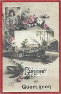 Belgique - Bonjour De QUAREGNON - Fantaisie Train - Locomotive - Quaregnon
