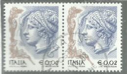 ITALIA REPUBBLICA ITALY REPUBLIC 2003 2004 LA DONNA NELL´ARTE WOMAN IN ART € 0,02 CENT. 2 COPPIA USATA USED OBLITERE´ - 6. 1946-.. Repubblica