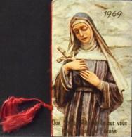 Petit Calendrier Religieux De Poche Année 1969 Relié Par Un Cordon De Soie - Association Sainte Rita De Cascia - B.E. - Calendriers