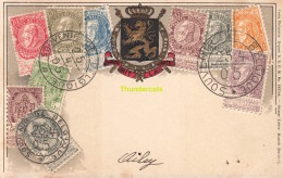 CPA CARTE EN RELIEF TIMBRES BELGE BELGIQUE CARTE PHILATELIE OTTMAR ZIEHER - Timbres (représentations)