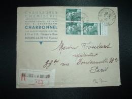 LR TP MARIANNE DE GANDON 2F X3 OBL.2-5-45 BOURG LA REINE (92 HAUTS DE SEINE) CHARBONNEL CHAUSSURES - Postmark Collection (Covers)