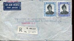9347  Brunei, Circuled Registered Cover  1952  To England - Brunei (1984-...)